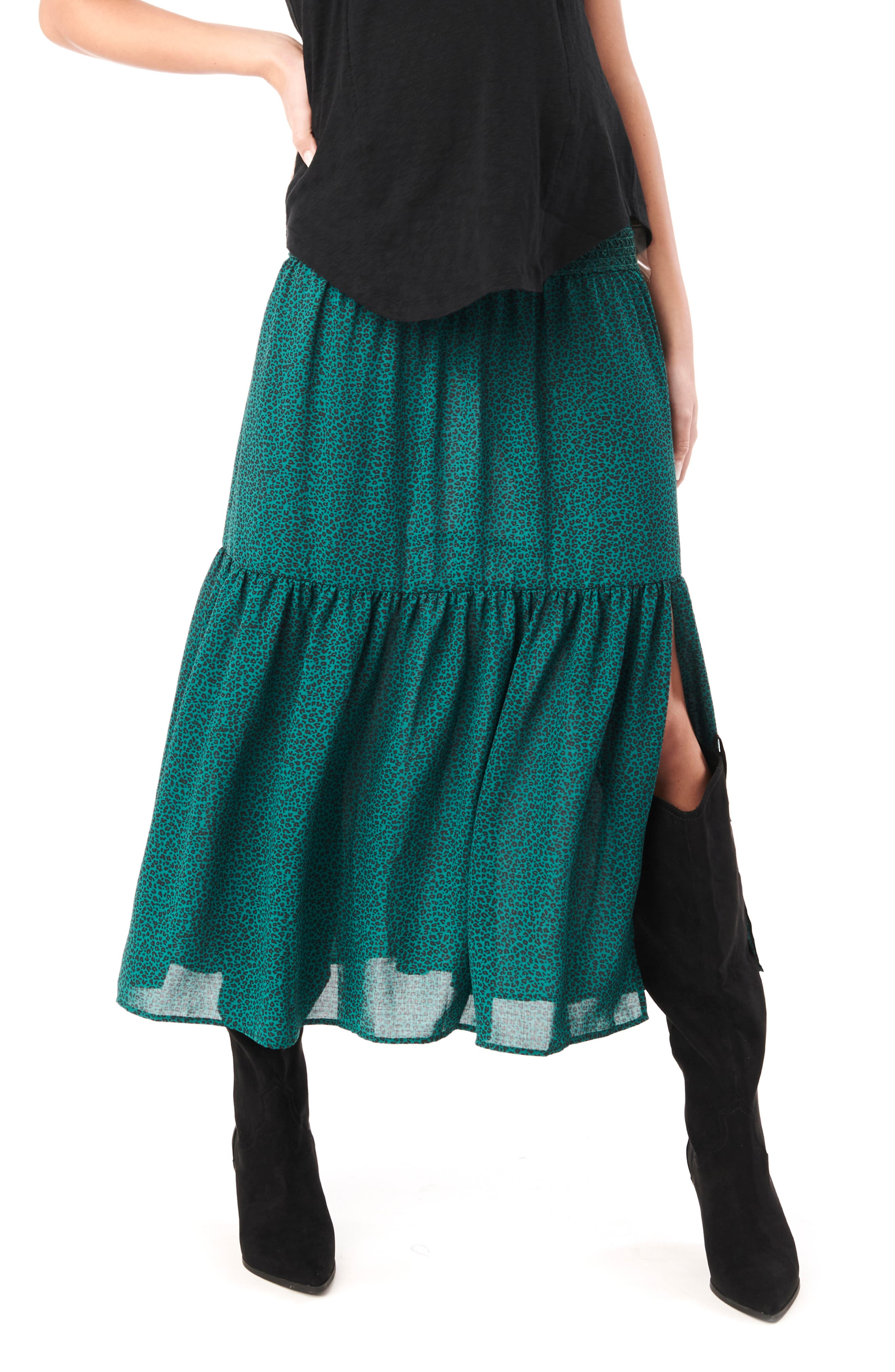 Jessie Smock Layered Ruffle Maternity Maxi Skirt