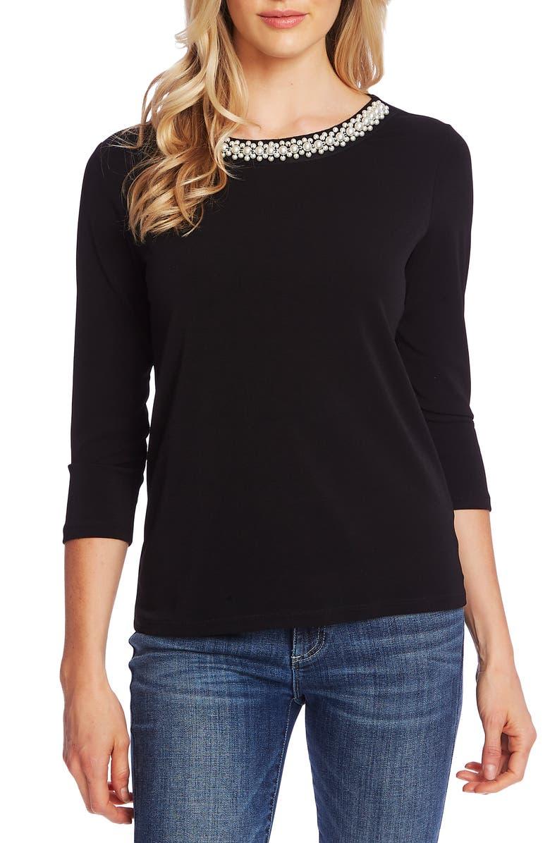 CECE Beaded Neck Knit Top, Main, color, RICH BLACK