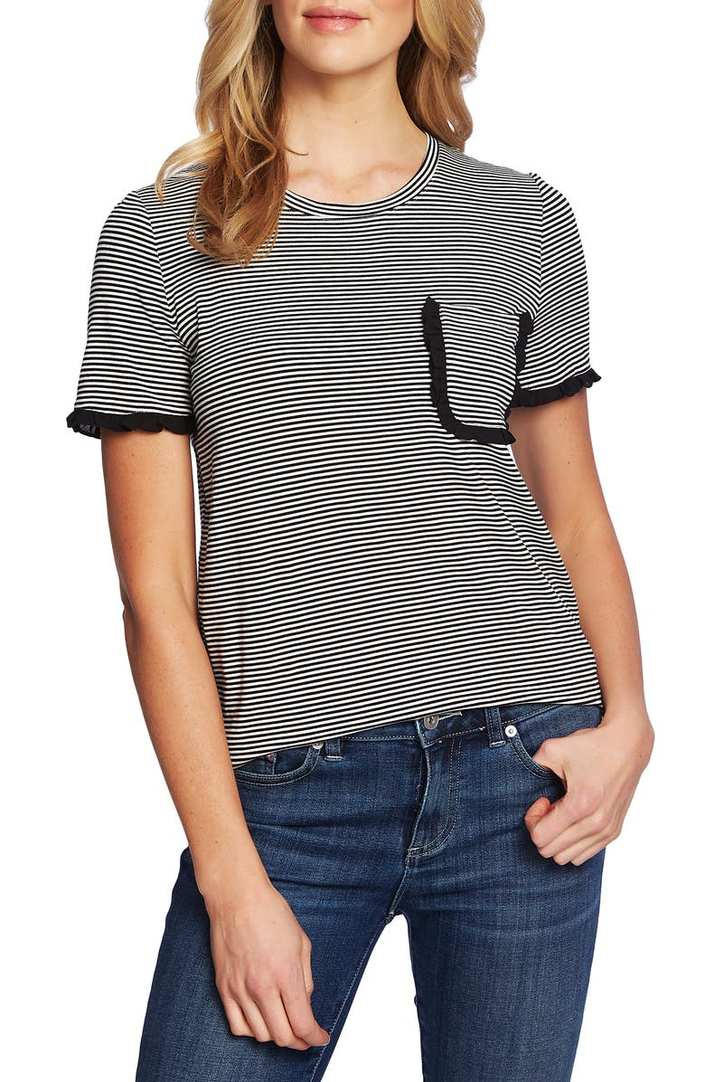 CeCe Thin Stripe Pocket Tee