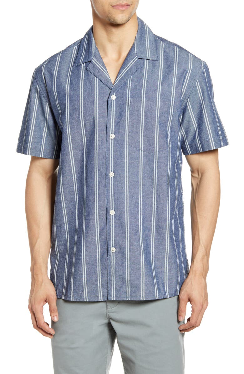 BONOBOS Cabana Short Sleeve Button-Up Camp Shirt, Main, color, CHAMBRAY STRIPE