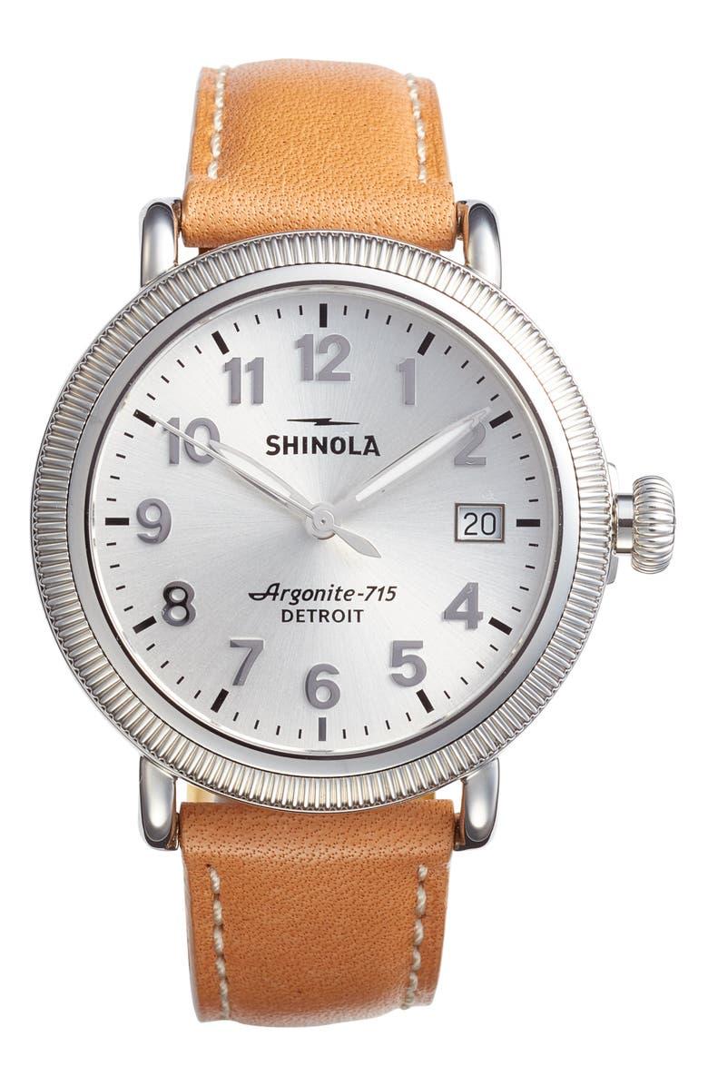 SHINOLA The Runwell Leather Strap Watch, 38mm, Main, color, ANILINE LATIGO/ SILVER