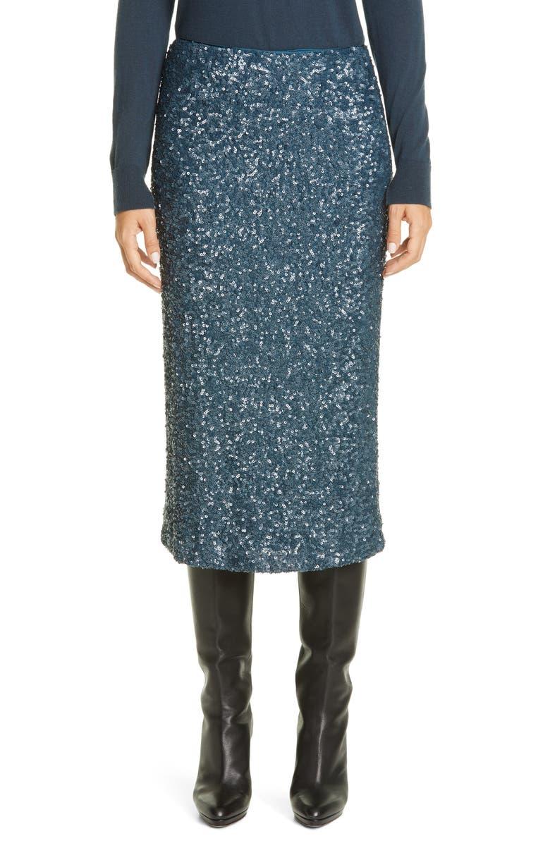 LAFAYETTE 148 NEW YORK Casey Sequin Midi Skirt, Main, color, BLUE STORM