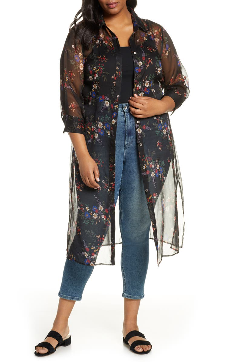 VINCE CAMUTO Country Bouquet Belted Duster, Main, color, 001