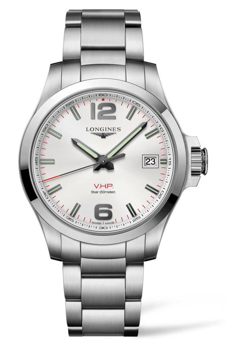 LONGINES Conquest V.H.P. Bracelet Watch, 41mm, Main, color, 040