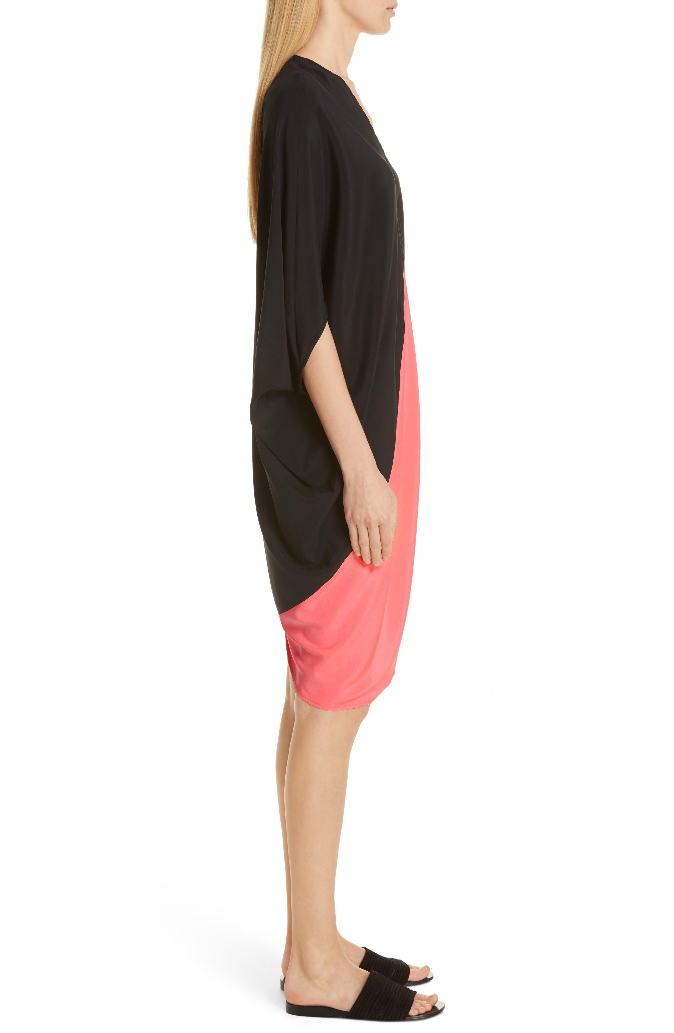 ,                             Koya Colorblock Stretch Silk Dress,                             Alternate thumbnail 4, color,                             BLACK/ NEON ROSE