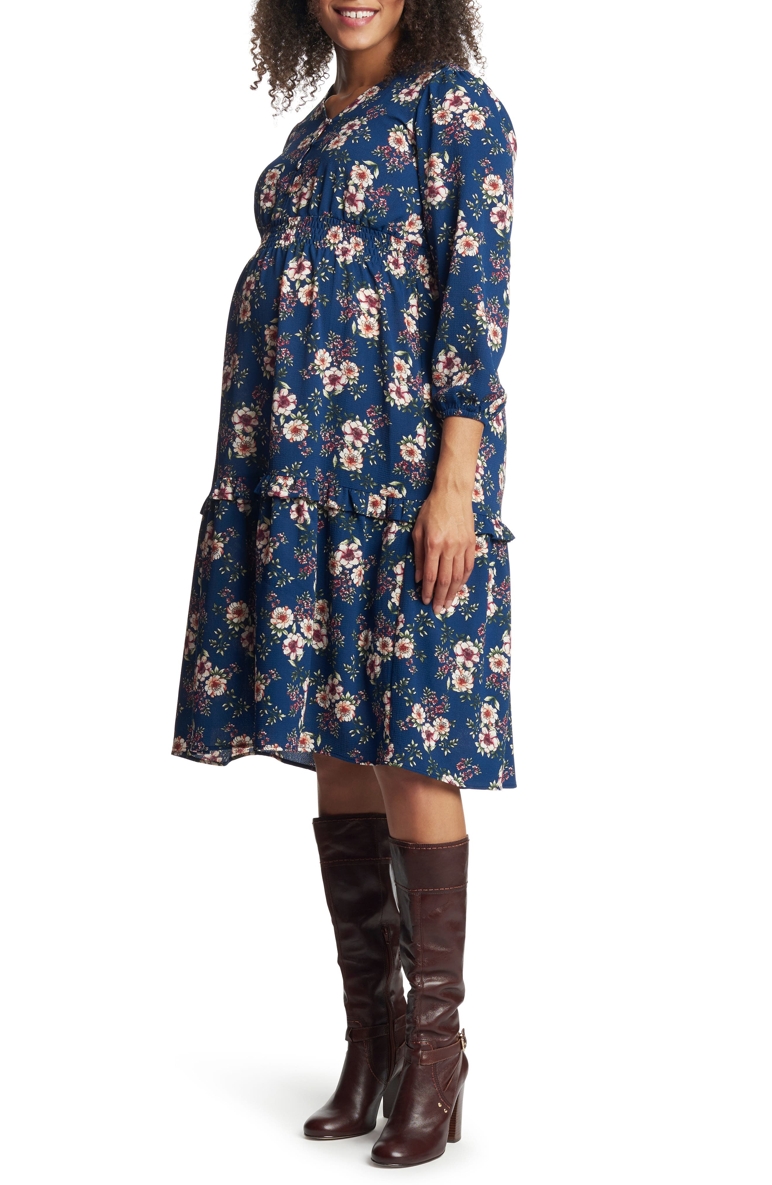 Jenny Floral Long Sleeve Maternity/nursing Dress
