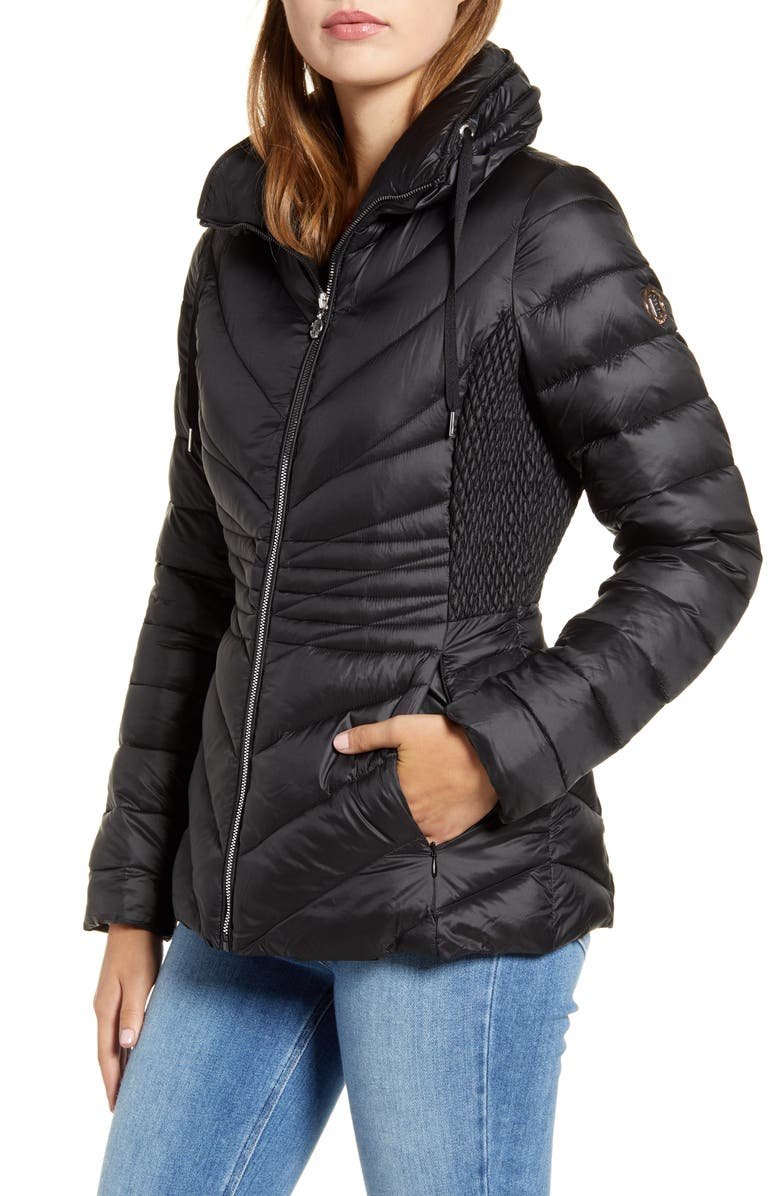 BERNARDO Packable EcoPlume Puffer Jacket, Main, color, BLACK