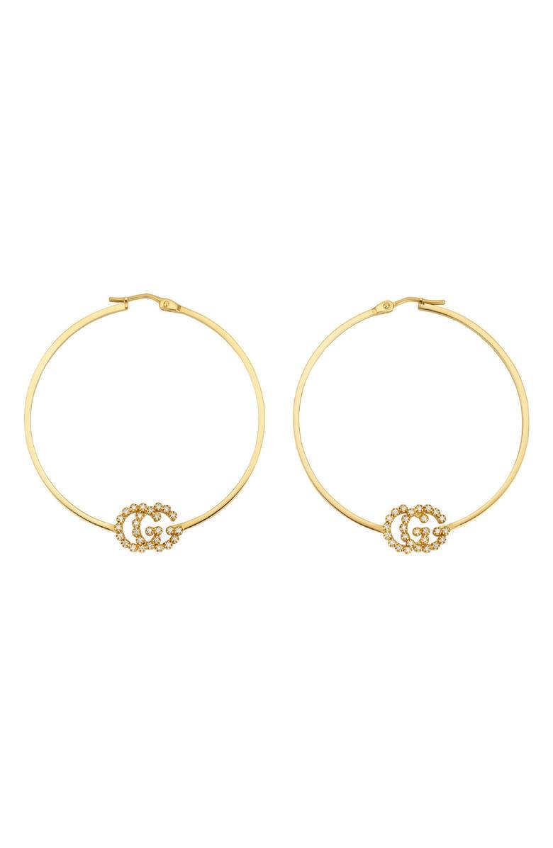 GUCCI Running G Diamond Hoop Earrings, Main, color, YELLOW GOLD