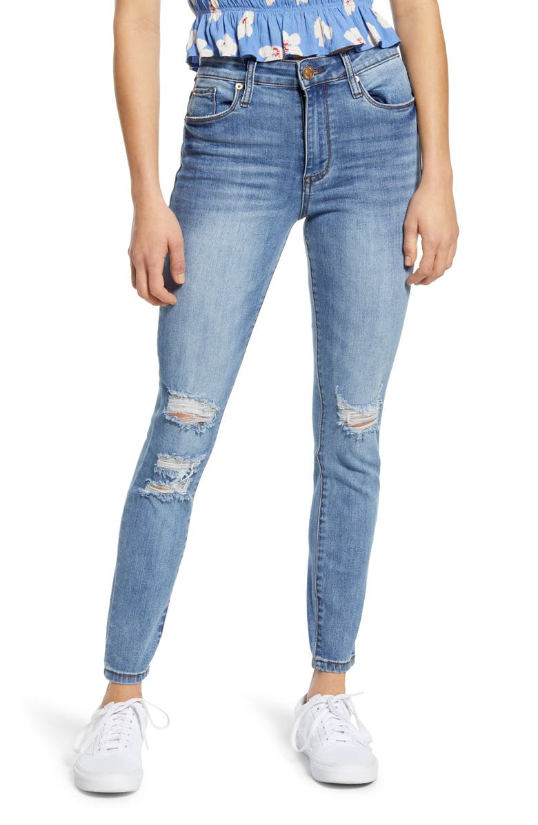 STS BLUE Ellie Ripped High Waist Skinny Jeans, Main, color, FLAGSTONE