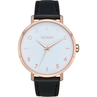 Nixon The Arrow Leather Strap Watch,