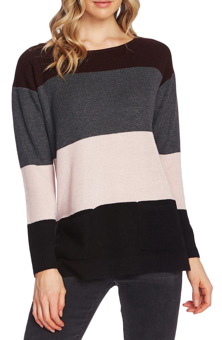 VINCE CAMUTO Colorblock Pocket Sweater, Main, color, PORT
