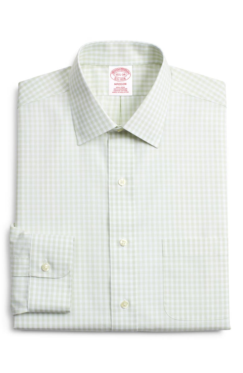 BROOKS BROTHERS Madison Classic Fit Check Dress Shirt, Main, color, GREEN