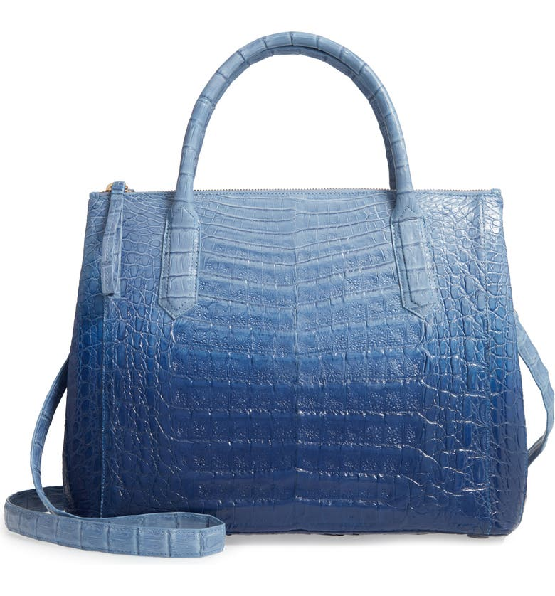 NANCY GONZALEZ Medium Double Zip Genuine Crocodile Tote, Main, color, BLUE DEGRADE