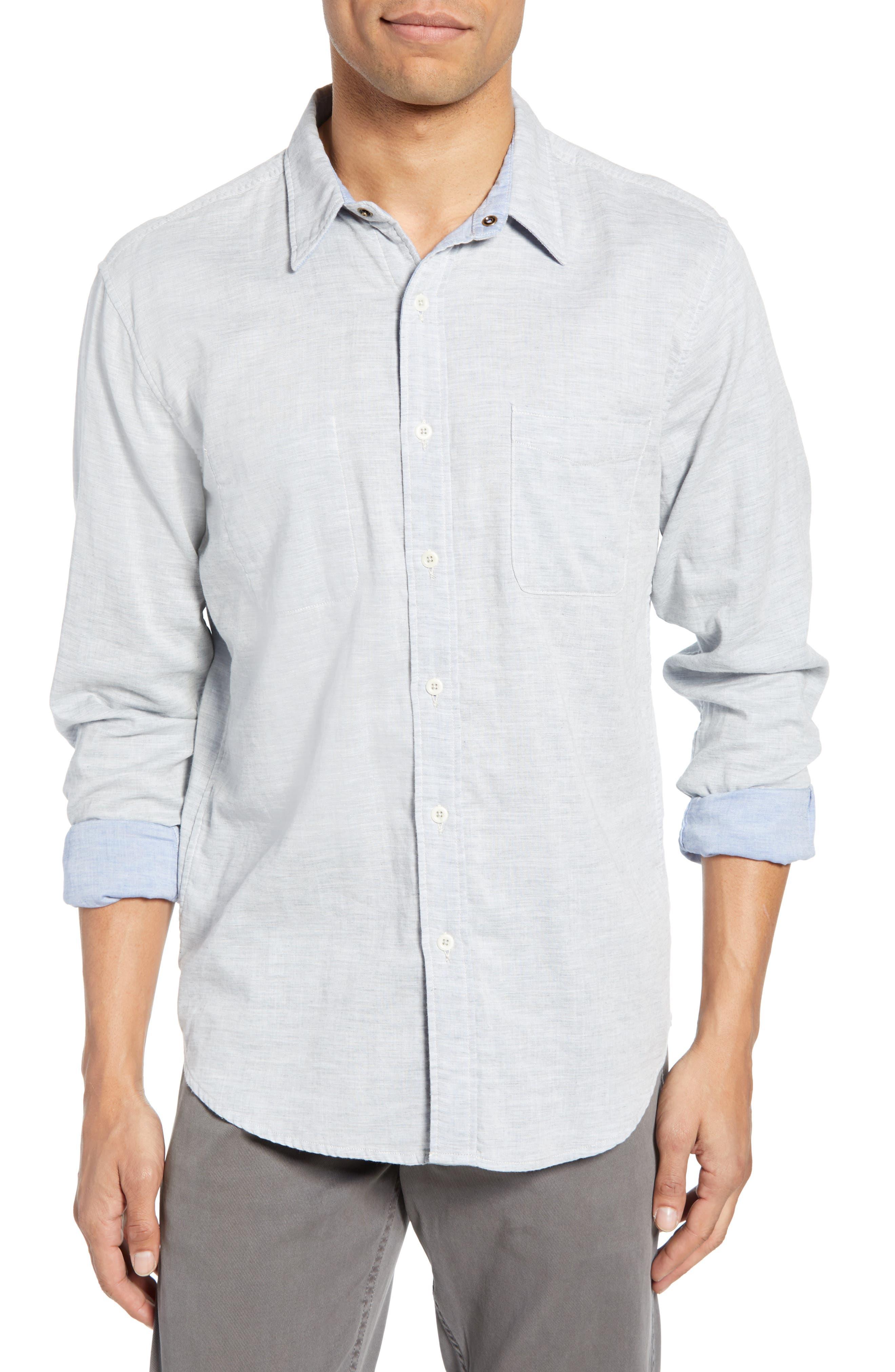 Faherty Belmar Regular Fit Reversible Cotton Sport Shirt, Blue
