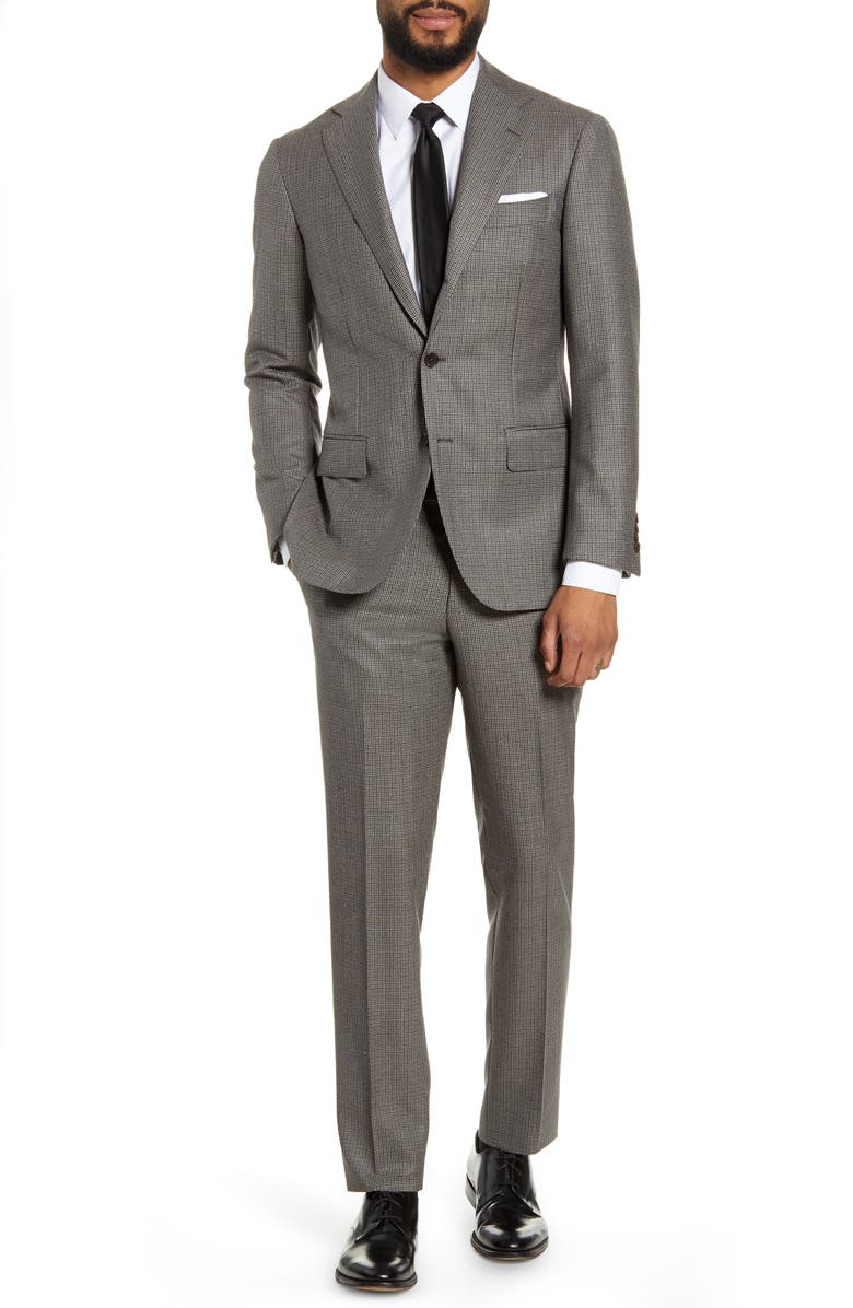 RING JACKET Trim Fit Houndstooth Wool Suit, Main, color, 270
