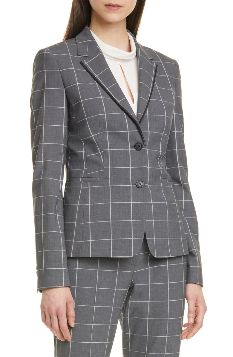 BOSS Julea Windowpane Check Jacket, Main, color, GREY FANTASY