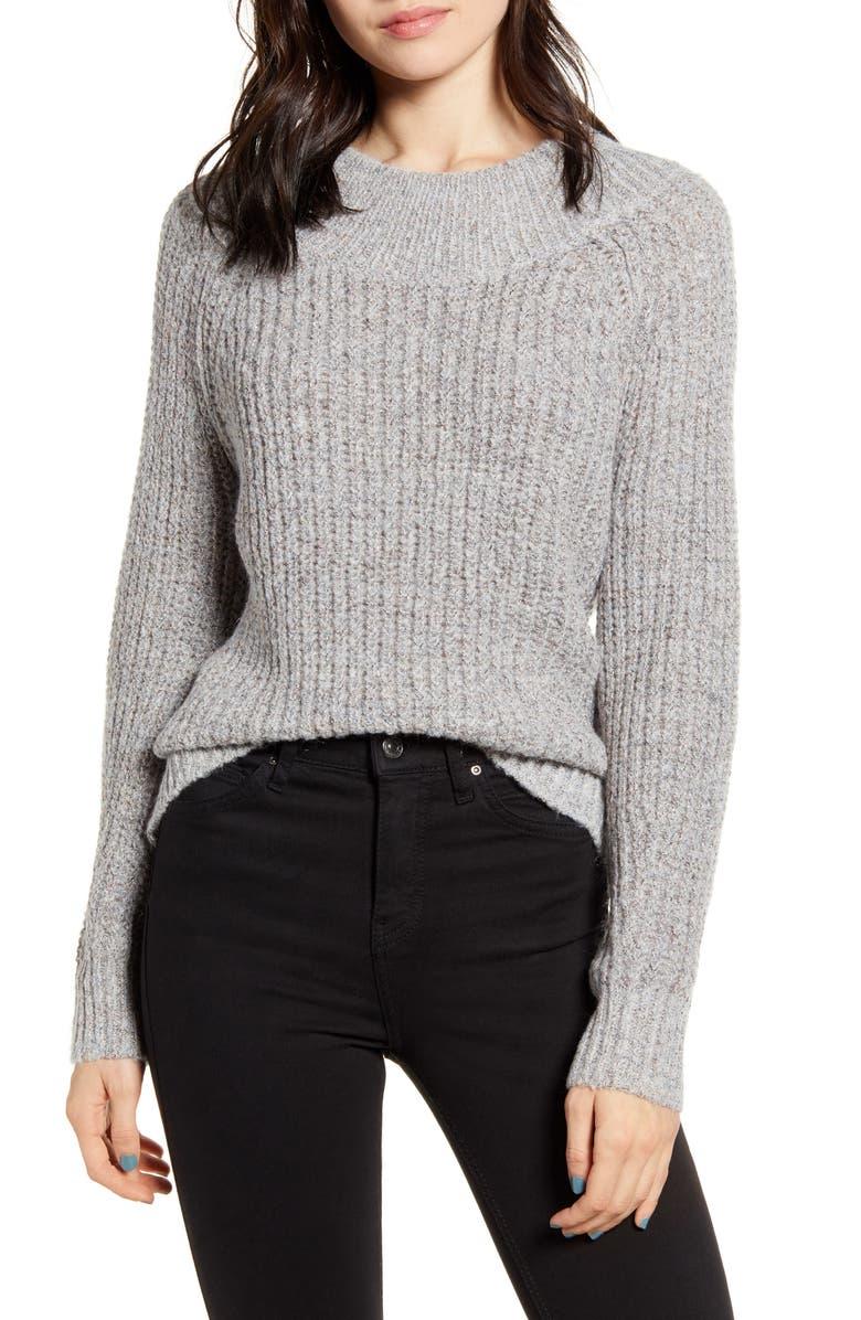 BP. Sparkle Shaker Stitch Sweater, Main, color, GREY MED HTHR ROSE GOLD