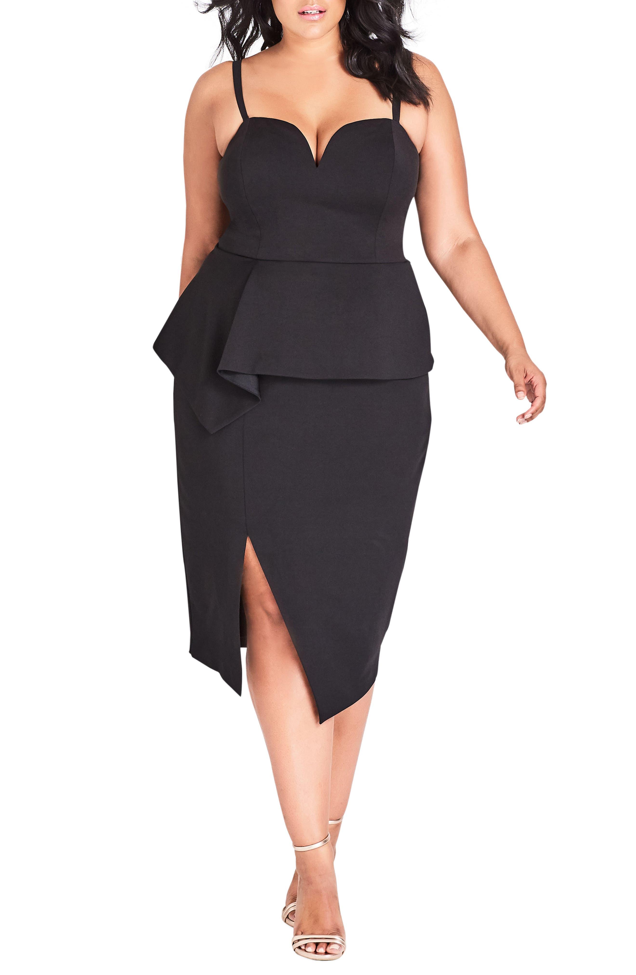 plus size women's city chic screen siren dress, size xx-large - black