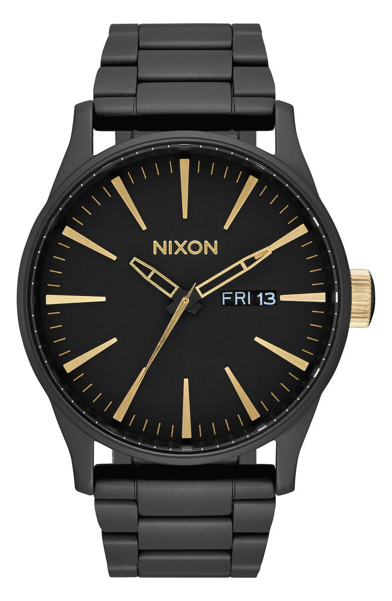 NIXON 'The Sentry' Bracelet Watch, 42mm, Main, color, BLACK
