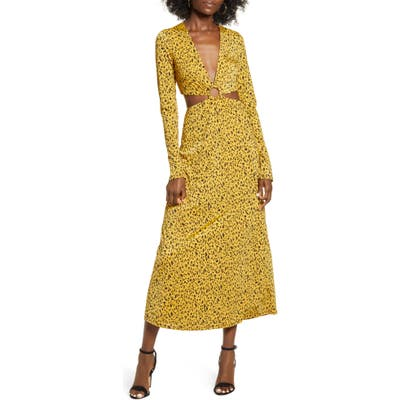 Afrm Lola Leopard Print Cutout Detail Long Sleeve Midi Dress, Yellow