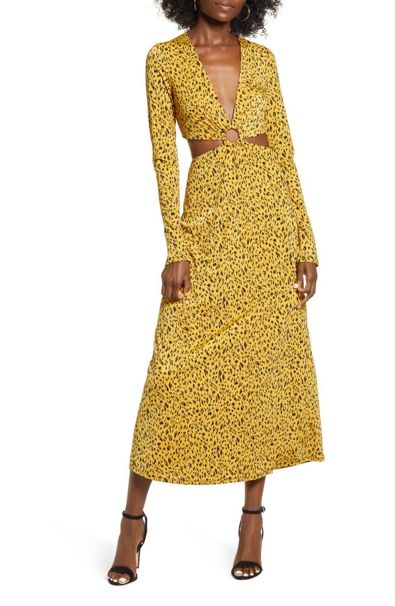 AFRM Lola Leopard Print Cutout Detail Long Sleeve Midi Dress, Main, color, GOLD LEOPARD713