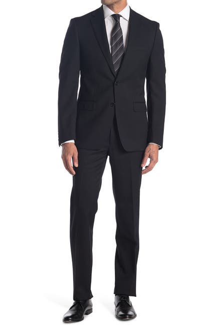Image of Calvin Klein Black Solid Two Button Notch Lapel Wool Suit