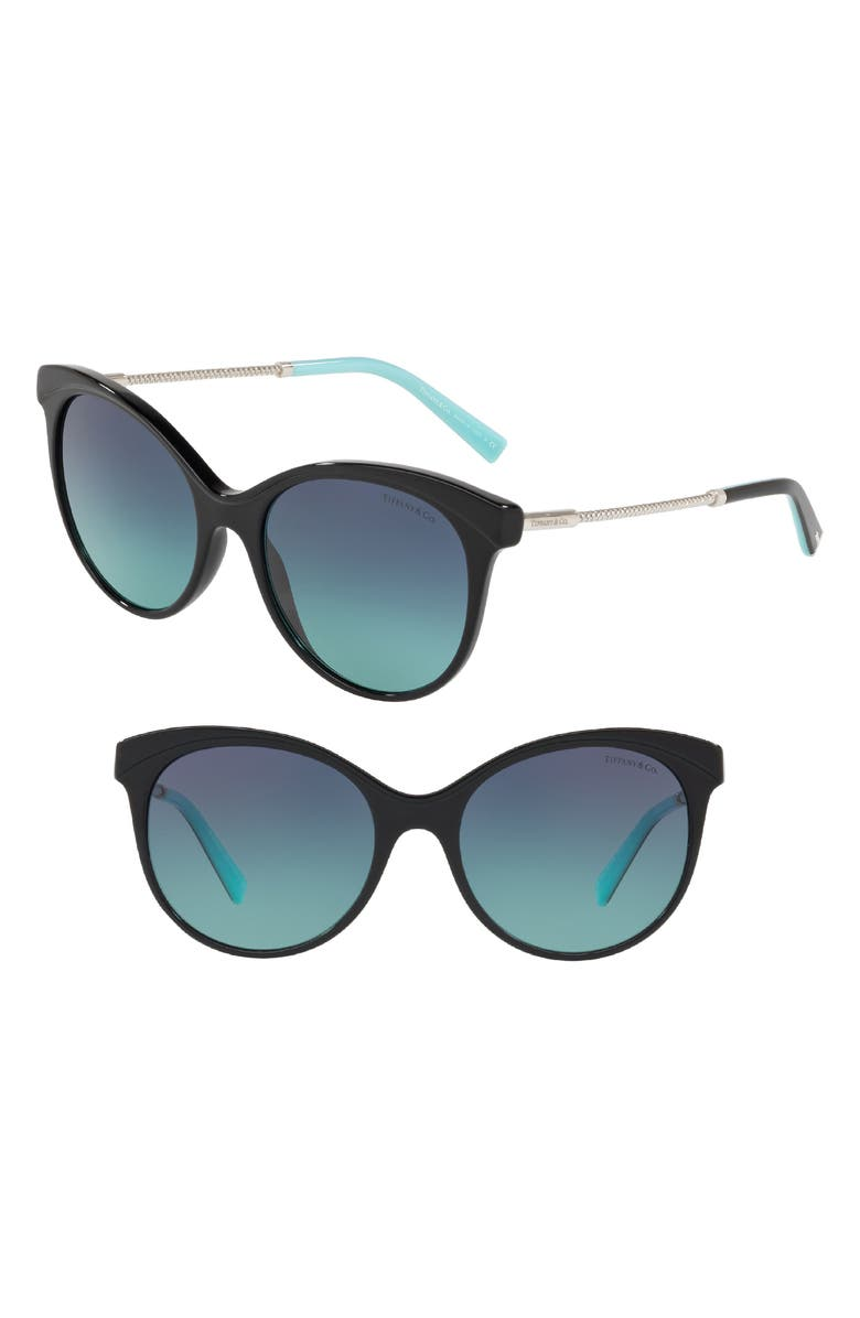 TIFFANY & CO. Diamond Point 55mm Gradient Cat Eye Sunglasses, Main, color, 001