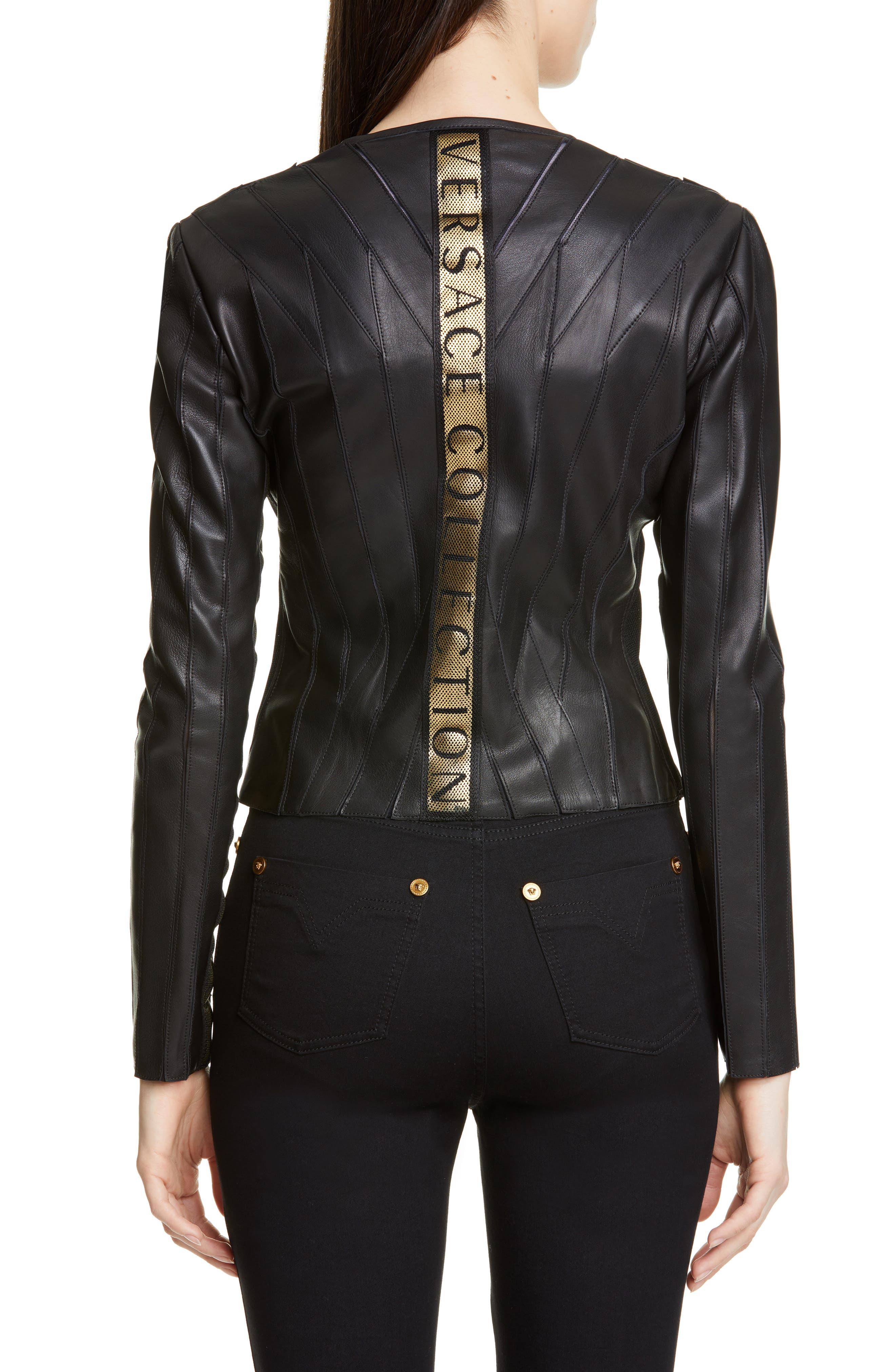 ,                             Logo Leather Jacket,                             Alternate thumbnail 2, color,                             BLACK
