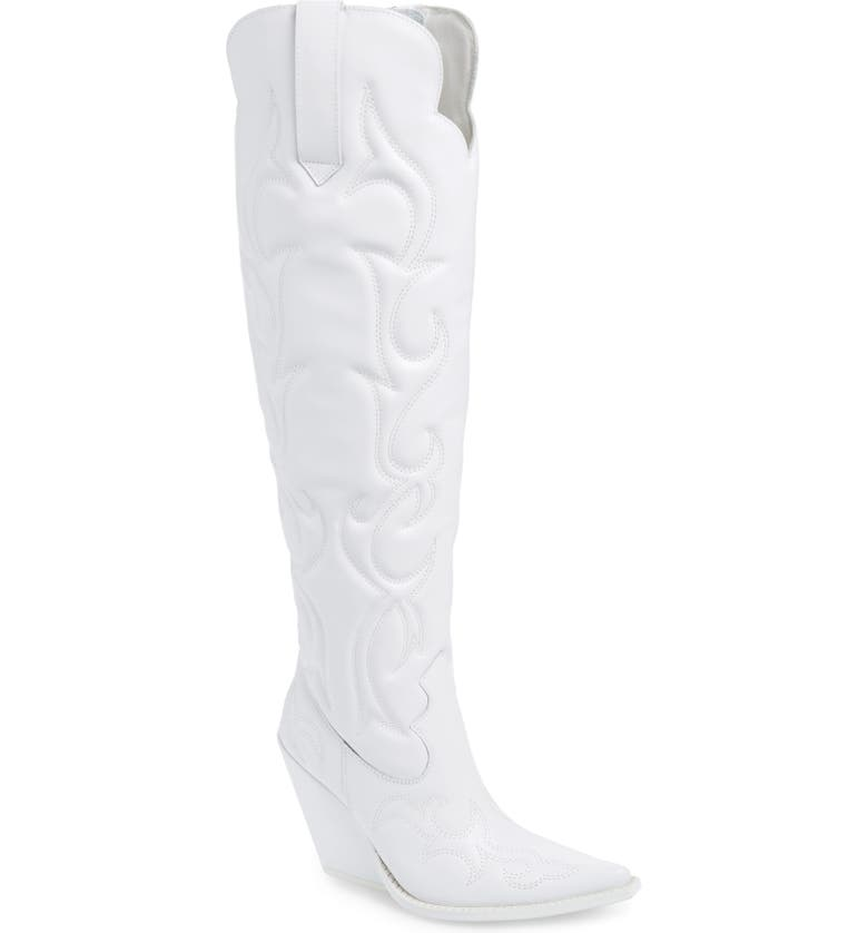 JEFFREY CAMPBELL Amigos Over the Knee Boot, Main, color, WHITE LEATHER