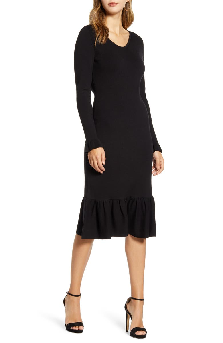 RACHEL PARCELL Ruffle Trim Sweater Dress, Main, color, BLACK
