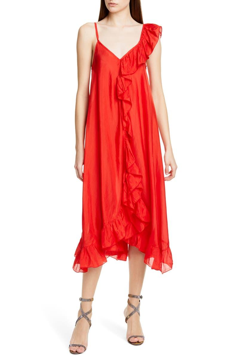 MES DEMOISELLES Noemie Silk Cocktail Dress, Main, color, CORAL