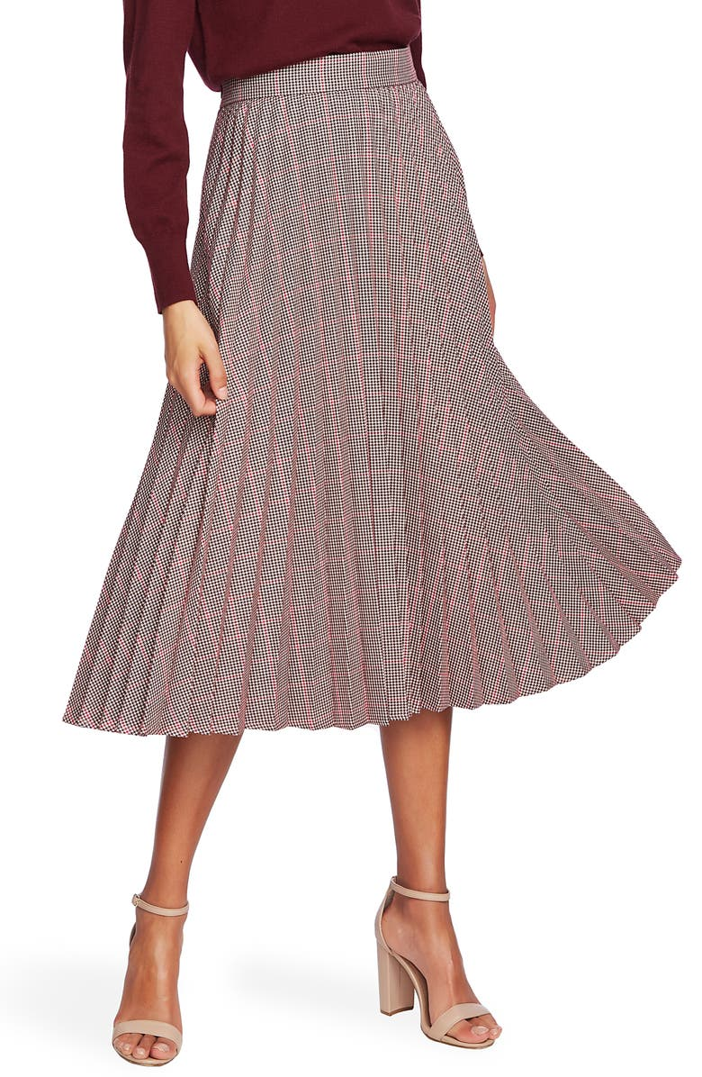 COURT & ROWE Houndstooth Pleated Midi Skirt, Main, color, DEEP CLARET