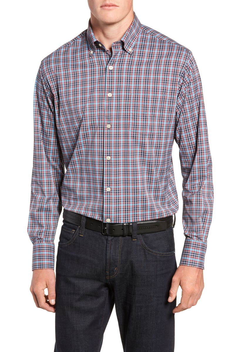 PETER MILLAR Clyde Plaid Performance Sport Shirt, Main, color, 410