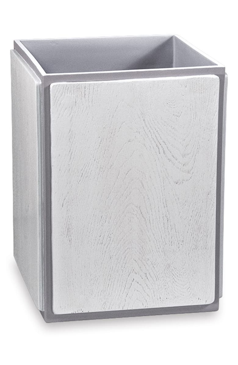 DKNY Grey Wood Wastebasket, Main, color, GREY
