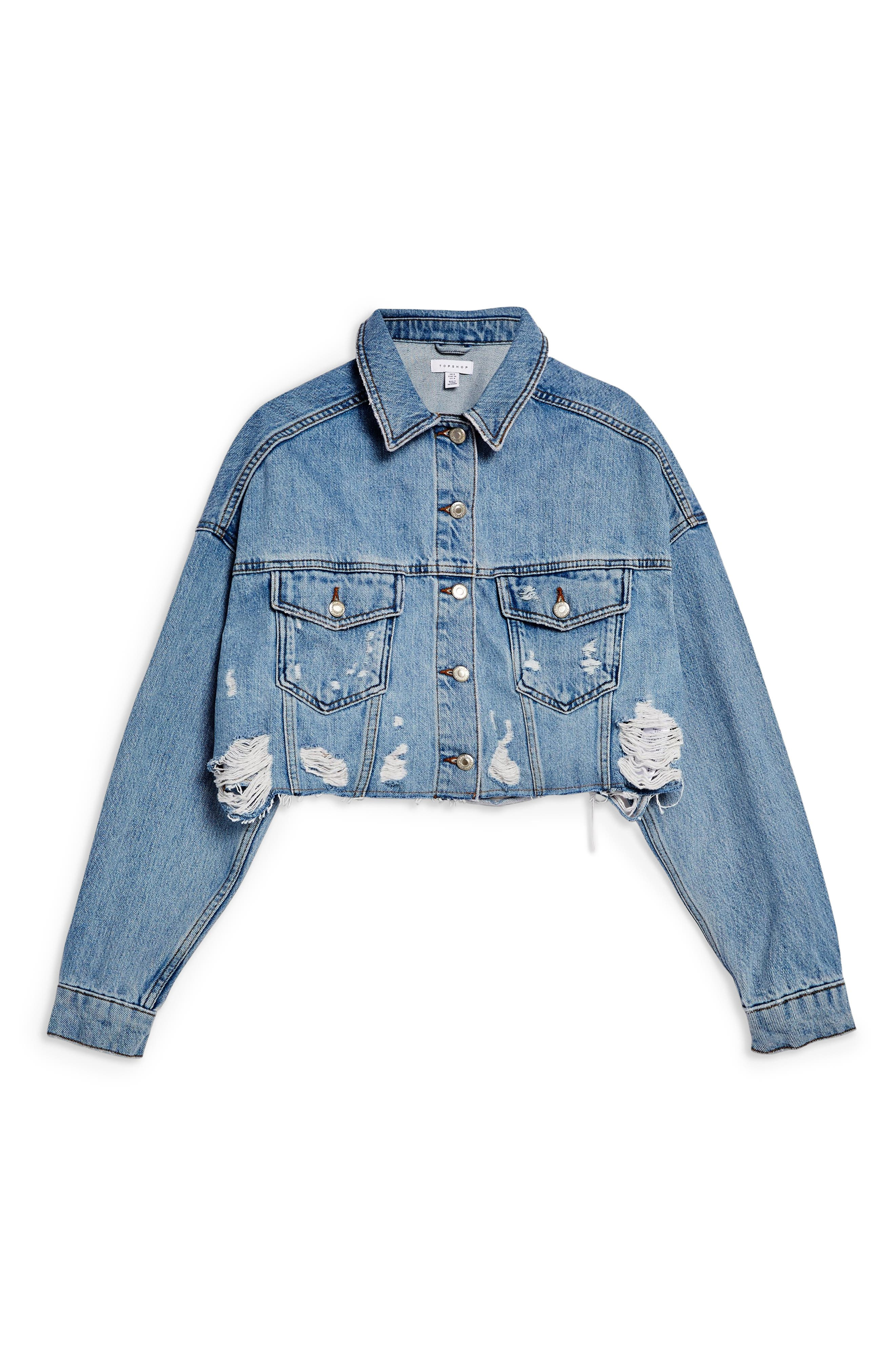 ,                             Hacked Ripped Denim Jacket,                             Alternate thumbnail 4, color,                             MID DENIM