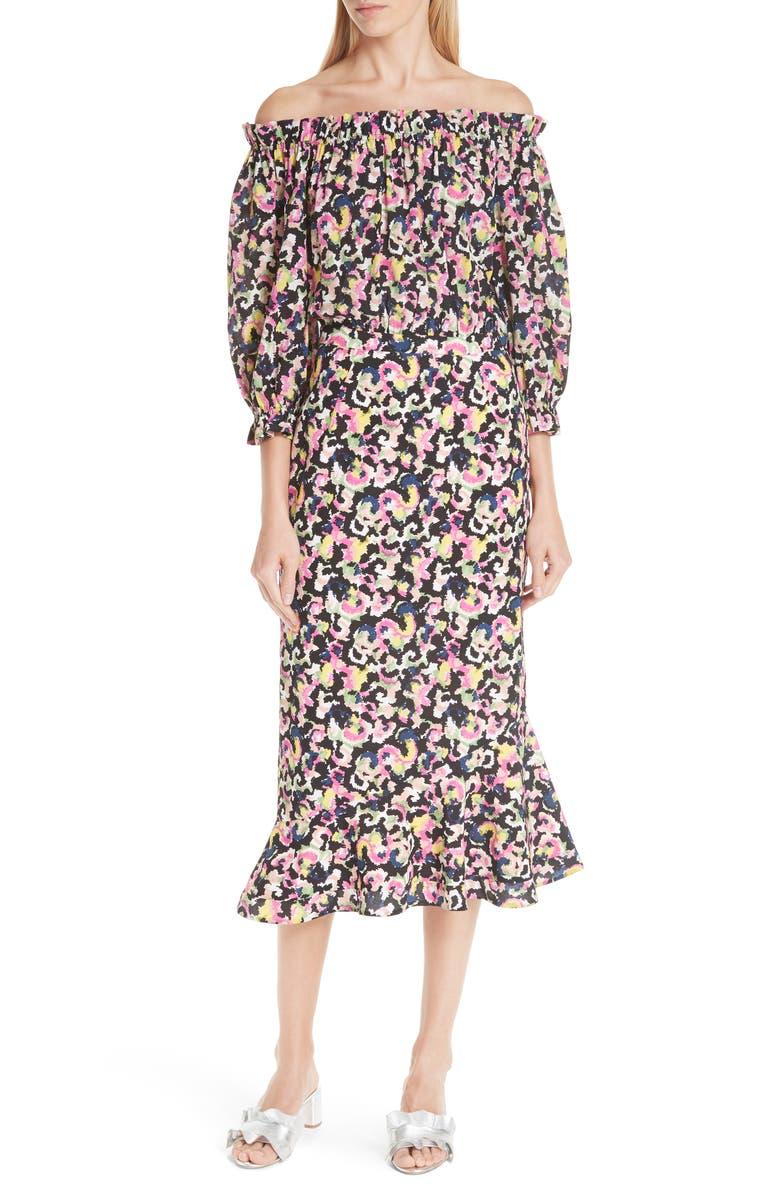 SALONI Grace Print Silk Off the Shoulder Dress, Main, color, 001