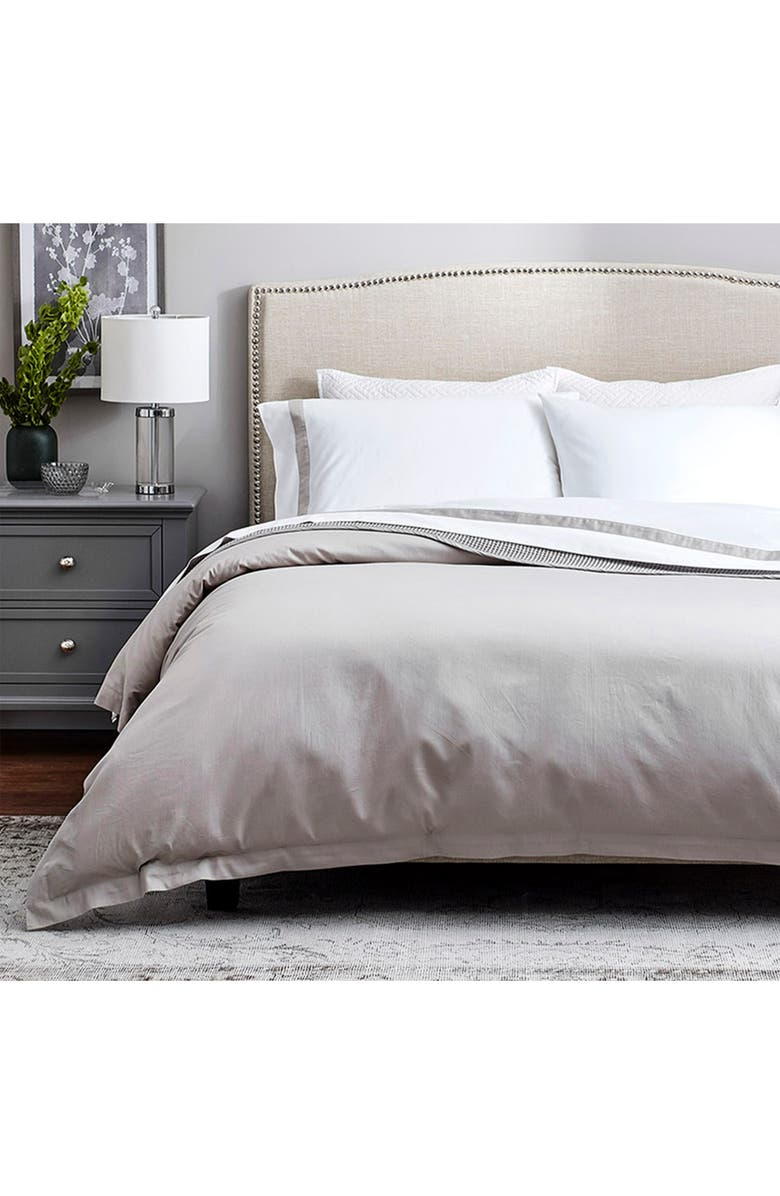 BOLL & BRANCH Signature Soft 300 Thread Count Duvet Cover & Shams, Main, color, PEWTER