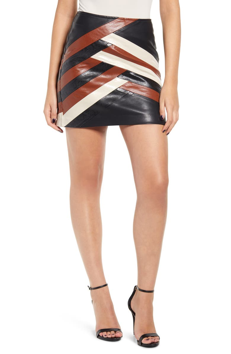 BLANKNYC Faux Leather Colorblock Miniskirt, Main, color, 200