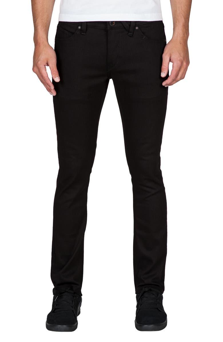 VOLCOM 2x4 Slim Straight Leg Jeans, Main, color, 001