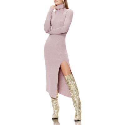 Afrm Jax Metallic Thread Long Sleeve Sweater Dress