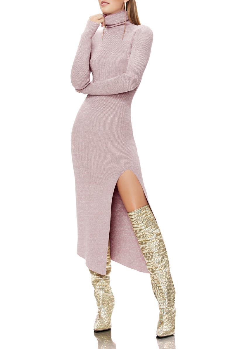 AFRM Jax Metallic Thread Long Sleeve Sweater Dress, Main, color, ICY PINK SNAKE