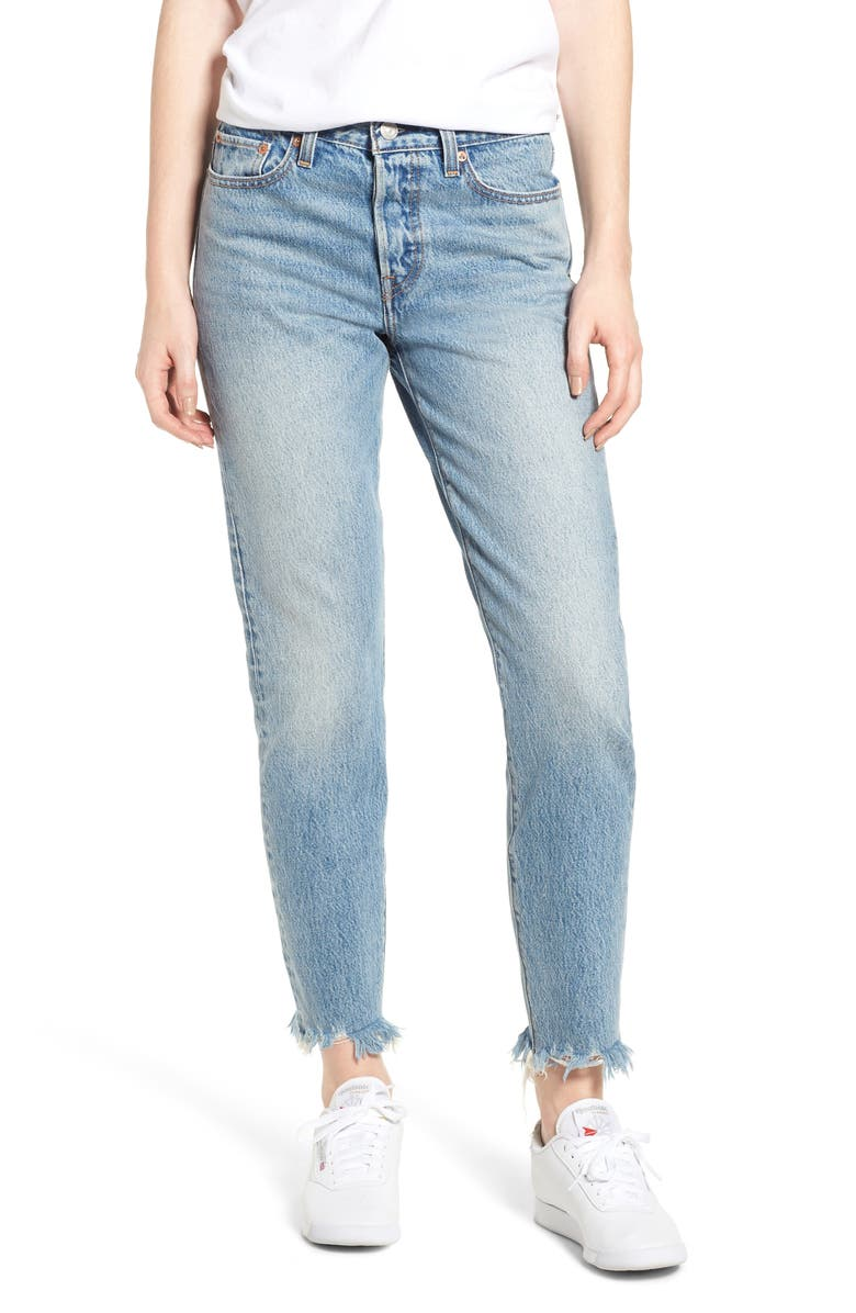 LEVI'S<SUP>®</SUP> Wedgie Icon Fit Raw Hem Jeans, Main, color, SHUT UP