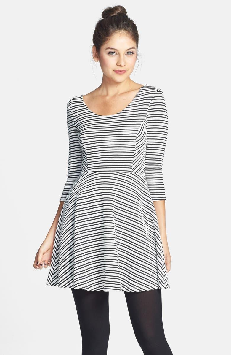 --- Stripe Textured Skater Dress, Main, color, 001