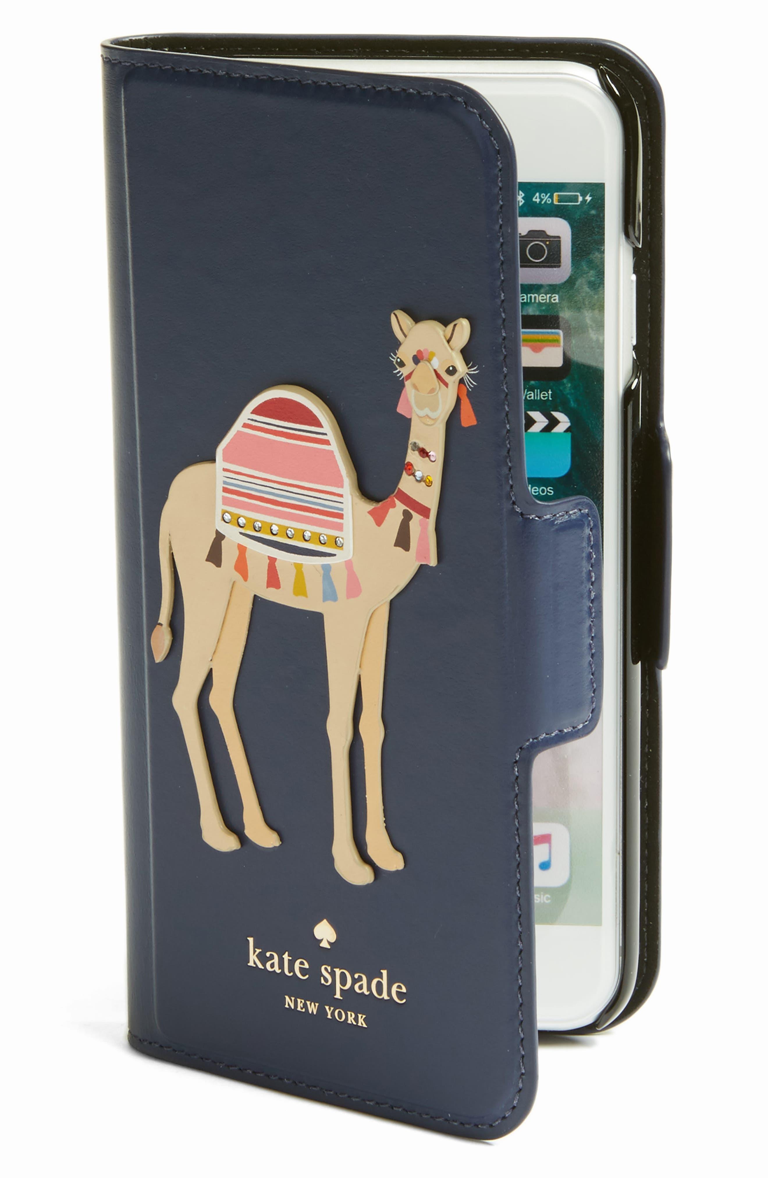 camel appliqué iPhone 7 folio case, Main, color, 460