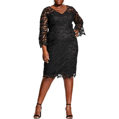 Plus Size City Chic Three-Quarter Sleeve Cocktail Dress, Black