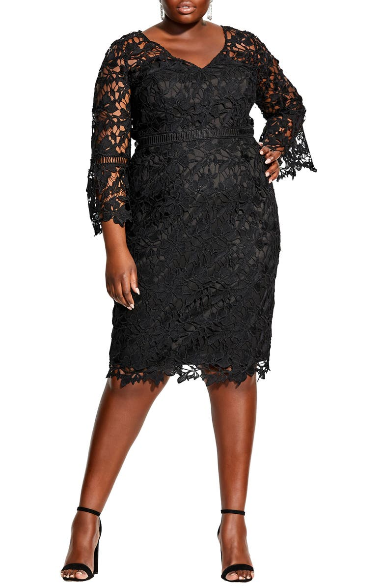 CITY CHIC Three-Quarter Sleeve Cocktail Dress, Main, color, BLACK