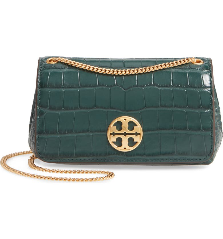TORY BURCH Chelsea Croc Embossed Leather Evening Bag, Main, color, NORWOOD