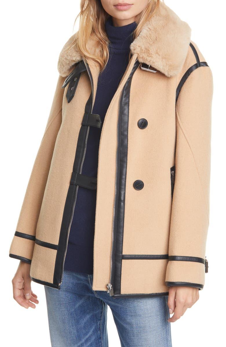 CLUB MONACO Wool Blend Moto Coat with Faux Fur Trim, Main, color, 200