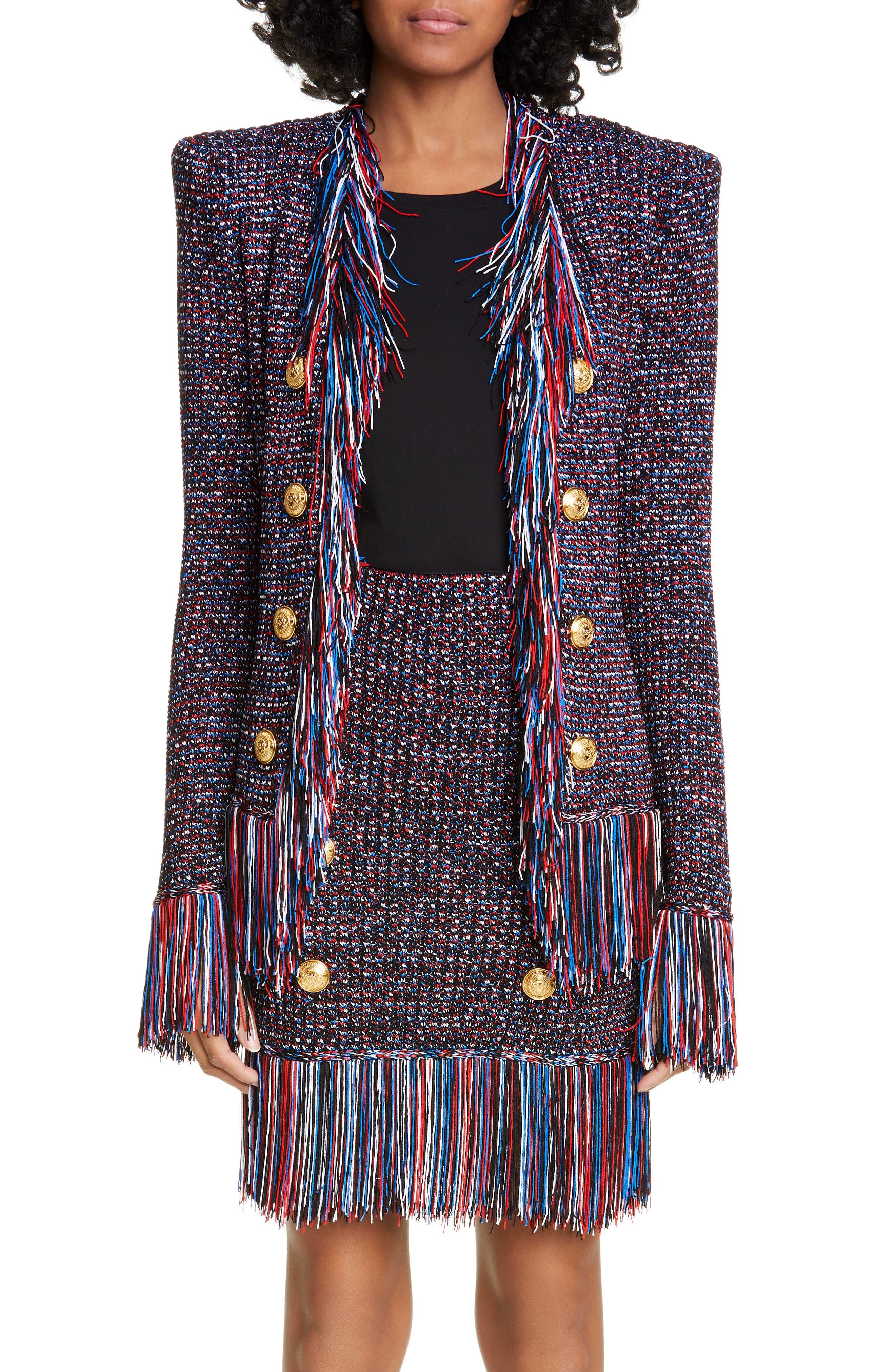 ,                             Fringe Trim Tweed Jacket,                             Main thumbnail 1, color,                             EBJ NOIR/ BLEU/ BLANC