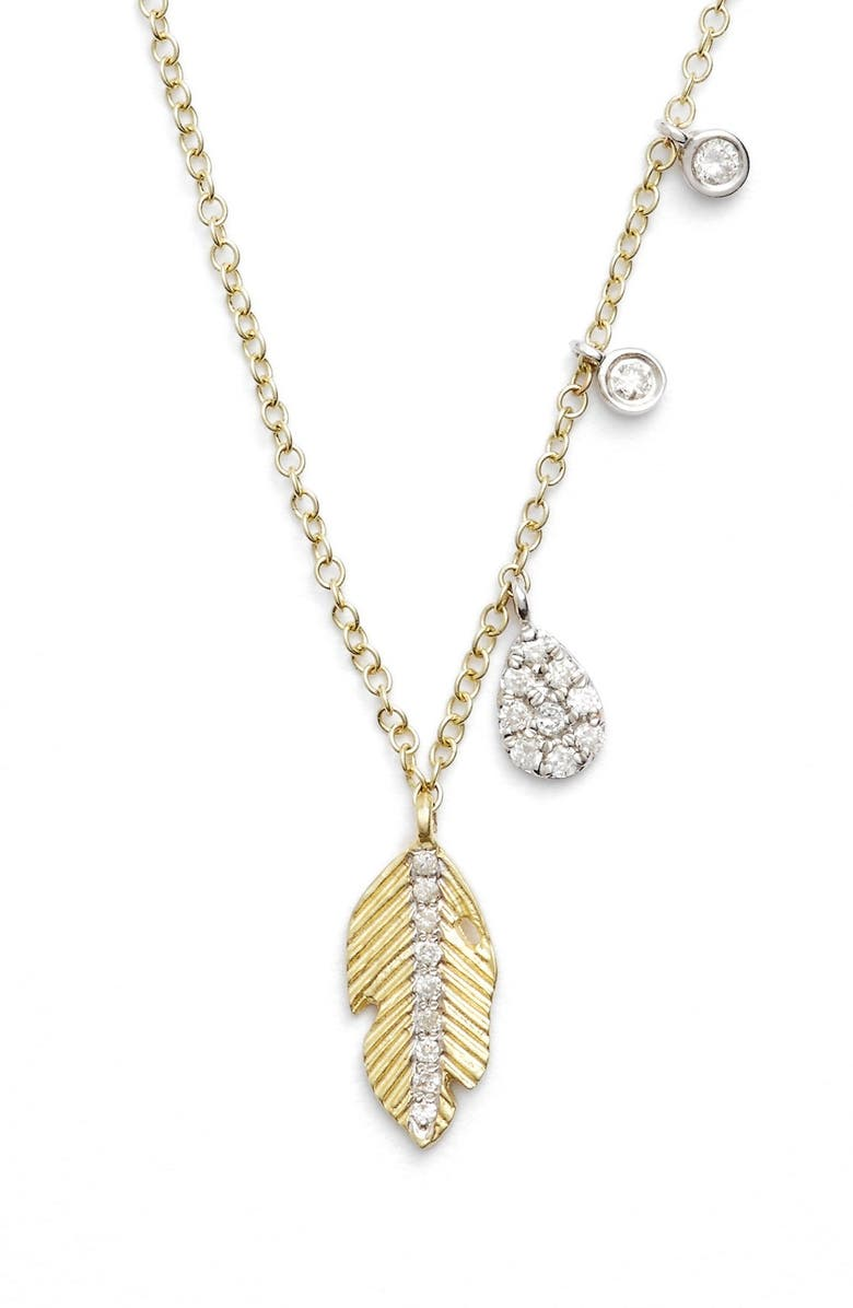 MEIRA T Leaf Pendant Necklace, Main, color, YELLOW GOLD/ WHITE GOLD